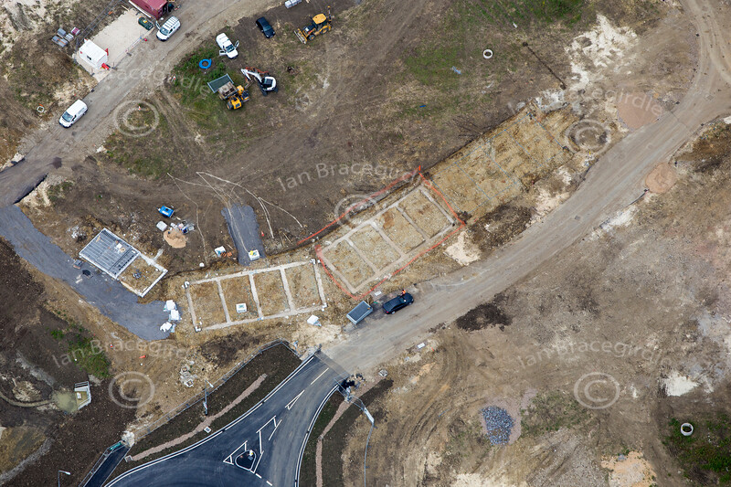 Aerial photo of construction site on Beacon Hill, Newark.