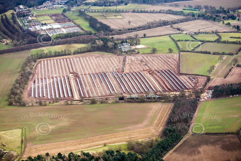 Hunciecroft Solar Farm construction project from the air.
