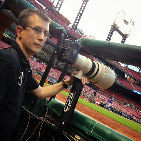 Tim on location at Busch Stadium in St. Louis covering the Missouri vs Illinois High School Baseball All-Star Game (PNC Showcase) for MaxPreps.