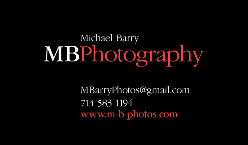 "Feel free to contact me if you have any questions or concerns of any sort. Ask me about pricing, or if you need my services but your not sure if I will shoot what you need, just ask! I most likely will! I shoot just about everything and am open to trying different things all the time to expand my experience.<br /> <br /> Call or text me at: (714) 583-1194<br /> If I don't answer, just leave me a message and I'll get back to you as soon as possible.<br /> <br /> Email me at: MBarryPhotos@gmail.com<br /> <br /> My prices are always very reasonable. Visit my ""Services"" page for more details."
