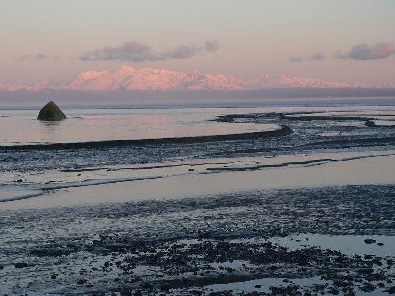 Bishop Creek weaving its way through mudflats to Cook Inlet