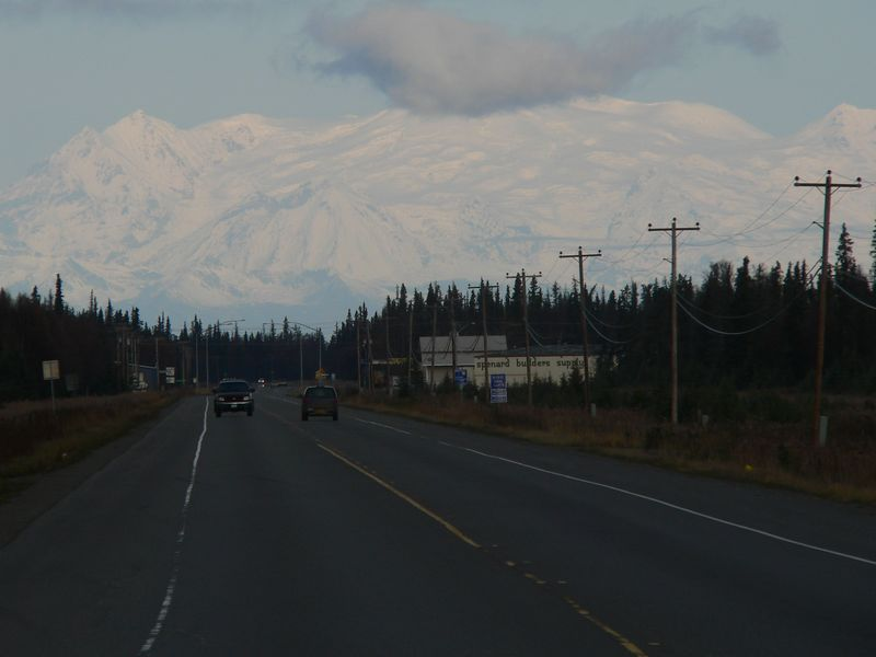 Mt. Spurr looking north along Kenai Spur Highway from the outskirts of Kenai