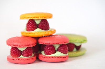 French Macarons à la Alla, filled with raspberries