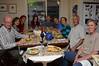 The Official Family Dinner photo, including Drew but missing Chris.  (Photo by Sharon, seen in glass door reflection.)