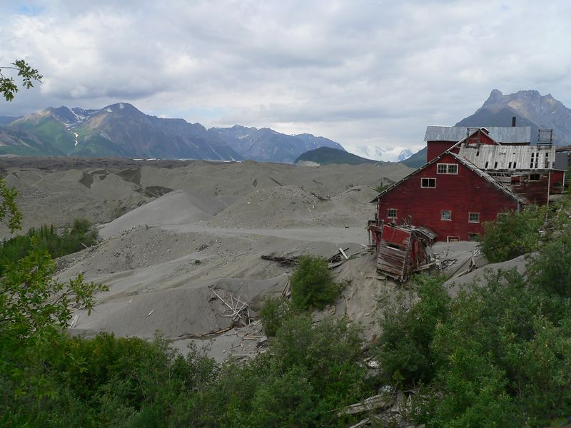 Tailings, glacier, and a portion of the mill town of Kennecott.