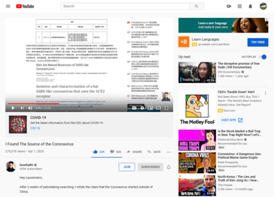 """I Found The Source of the Coronavirus https://youtu.be/bpQFCcSI0pU 270,076 views•Apr 1, 2020  22K  520  SHARE  SAVE   laowhy86 429K subscribers  Hey Laowinners,  After 2 weeks of painstaking searching, I refute the claim that the Coronavirus started outside of China.   ◘ Support me on Patreon for early release, and much more! http://www.patreon.com/laowhy86  ◘ Donate and support this channel through Paypal http://paypal.me/cmilkrun  ◘ OR Become a Sponsor on YouTube: https://www.youtube.com/channel/UChvi...  Thanks to Snarky Guy for the footage - Check his China channel here - https://www.youtube.com/channel/UCaUl...  ◘ My TV show: Conquering Northern China: https://vimeo.com/ondemand/conquering...  ◘ Conquering Southern China https://vimeo.com/ondemand/conquering...  ◘ Discount code for both shows: laowinning  ◘ Join me every week for videos about China! Don't forget to subscribe! http://www.youtube.com/laowhy86  Be a Laowinner! Like comment subscribe!  ◘ Facebook: http://www.facebook.com/laowhy86  ◘ Instagram:  http://instagram.com/laowhy86  Music in this video - The Muse Maker https://soundcloud.com/themusemaker  ◘ Music used most of the time - New World Hip Hop https://soundcloud.com/apollodrivenz https://www.youtube.com/channel/UCgir...  Links for proof:   http://www.whiov.cas.cn/105341/ http://www.whiov.cas.cn/105341/201911... http://www.whiov.cas.cn/105341/201912... http://159.226.126.127:8082/web/17190/20 http://159.226.126.127:8082/web/17190/46 http://gd.whiov.cas.cn/zxpy/yjsswgg/2... http://rfi.my/5OFG http://rfi.my/5OSZ http://gd.whiov.cas.cn/tzgg/201111/t2... http://www.whiov.ac.cn/tzgg_105342/20... http://blog.creaders.net/u/3027/20200... https://www.backchina.com/blog/261460... http://www.bjnews.com.cn/news/2020/02... https://bbs.pku.edu.cn/v2/post-read.p...  How China's """"Bat Woman"""" Hunted Down Viruses from SARS to the New Coronavirus https://www.scientificamerican.com/article/how-chinas-bat-woman-hunted-down-viruses-from-sars-to-the-new-coronavirus1/  """