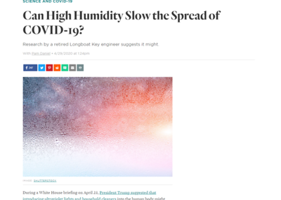 """Can High Humidity Slow the Spread of COVID-19?  https://www.sarasotamagazine.com/coronavirus/2020/04/can-high-humidity-slow-the-spread-of-covid-19  """"..During his research, Landau noticed that infection rates seemed to be extremely low in Singapore, Australia, South Korea and Japan—even though outdoor humidity was low in some of those places. He discovered that indoor spaces tend to be more humid in each of those countries for varying reasons, including building codes that require air-tight construction and water-based indoor heating sources.  And in Singapore, officials suspected early on that humidity plays a role in transmitting the virus and took aggressive steps to raise levels in place where people are close together, such as requiring buses to keep windows open and reducing air conditioning and increasing natural ventilation in office buildings....  """"I'd like to see offices, hospitals and other buildings monitor humidity and increase it where they can,"""" Landau says. Doing that """"has no bad effects,"""" he says, and can often be as simple and inexpensive as installing space humidifiers and misters, although some buildings will require more complex solutions, including modifying or replacing HVAC systems. """"Relative humidity in the range between 40 and 60 percent is ideal,"""" he says.  (Higher humidity feeds the growth of bacteria, fungi, molds and other contaminants.)  ...""""  Good Question: Can Air Conditioning Put Us At Risk For COVID-19? https://minnesota.cbslocal.com/2020/05/18/good-question-can-air-conditioning-put-us-at-risk-for-covid-19/ """"What we've been able to learn so far is there's no evidence that contaminated air taken from one space and put through an air conditioning system into another space has been found to cause infections,"""" said Bill Bahnfleth, a professor of architectural engineering at Penn State University.  Bahnfleth is also the chair of an ASHRAE (American Society of Heating, Refrigerating and Air-Conditioning Engineers) task force that provides"""