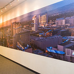"""6 foot by 40 foot Gigapixel Panorama Mural of the San Jose Silicon Valley Downtown at Sunset"" Installed at a local Silicon Valley Company. Fine Art Murals for Companies, Corporations"
