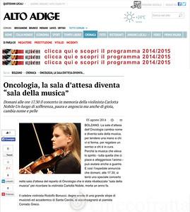 "Oncologia, la sala d'attesa diventa ""sala della musica"" - Cronaca - Alto Adige- pag 1"