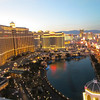 The last light is coming from the west on the Bellagio and its lake with Caesars in the distance.