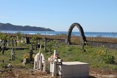 View of Playa Guiones. A cemetary lay just along the path.
