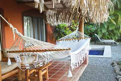 Our room had a nice outdoor area with plunge-pool and hammock