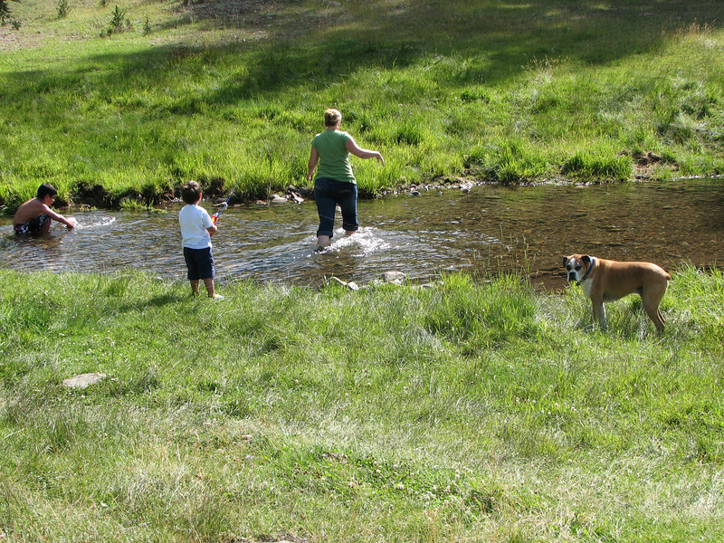 Mommy wading in the creek.  Eventually slipping and taking a cold bath!