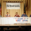 Madison County Council candidates and incumbents take part in a political candidate forum hosted by the League of Women Voters and The Herald Bulletin at the City Building on Tuesday. From left are Tammy Dixon-Tatum, Mike Gaskill, Lisa Phillips, Mike Phipps and Robin Wagner.