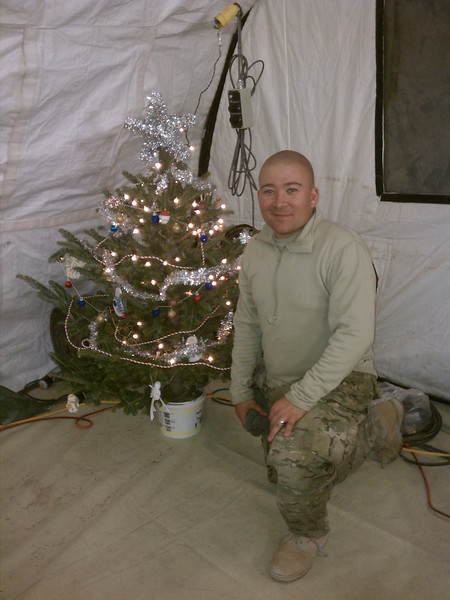 One of the trees sent to Afghanistan decorated and looking good.  It took 5 days to get  from Cleghorn to Afghanistan!!!