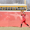 Frankton's Liz Armendariz catches a fly ball in center field during the first round of the County Softball Tournament at Frankton.