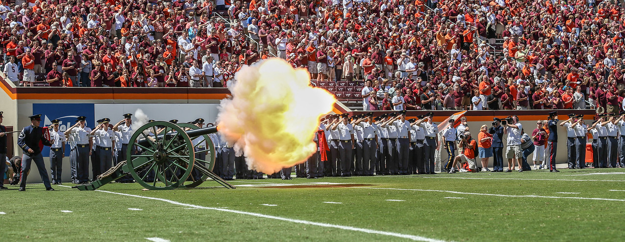 """Virginia Tech's canon """"Skipper"""" fires off the 2013 season as the Hokies played host to Western Carolina on Saturday."""