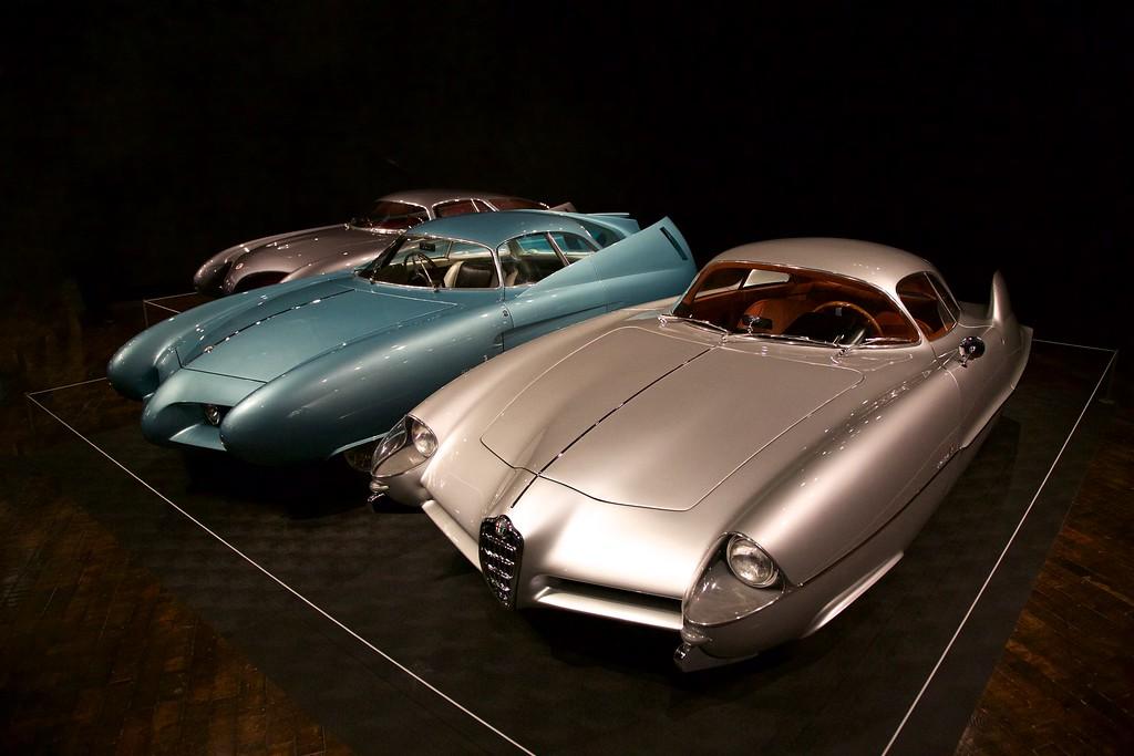The Alfa Romeo BATs-Berlinetta Aerodinamica Tecnica L-R: 1953 BAT 5, 1954 BAT 7, 1955 BAT 9.