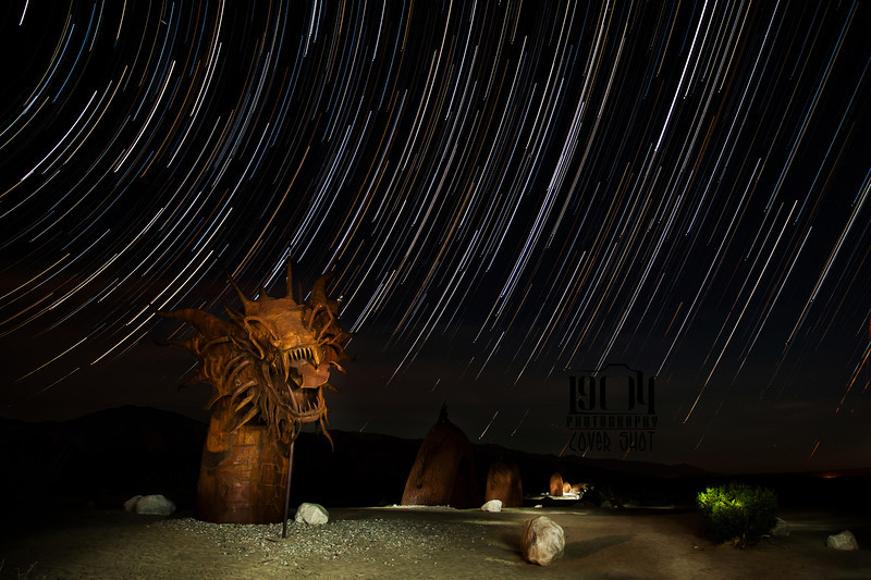 Star trails over the dragon at Galleta Meadows in Borrego Springs, CA.