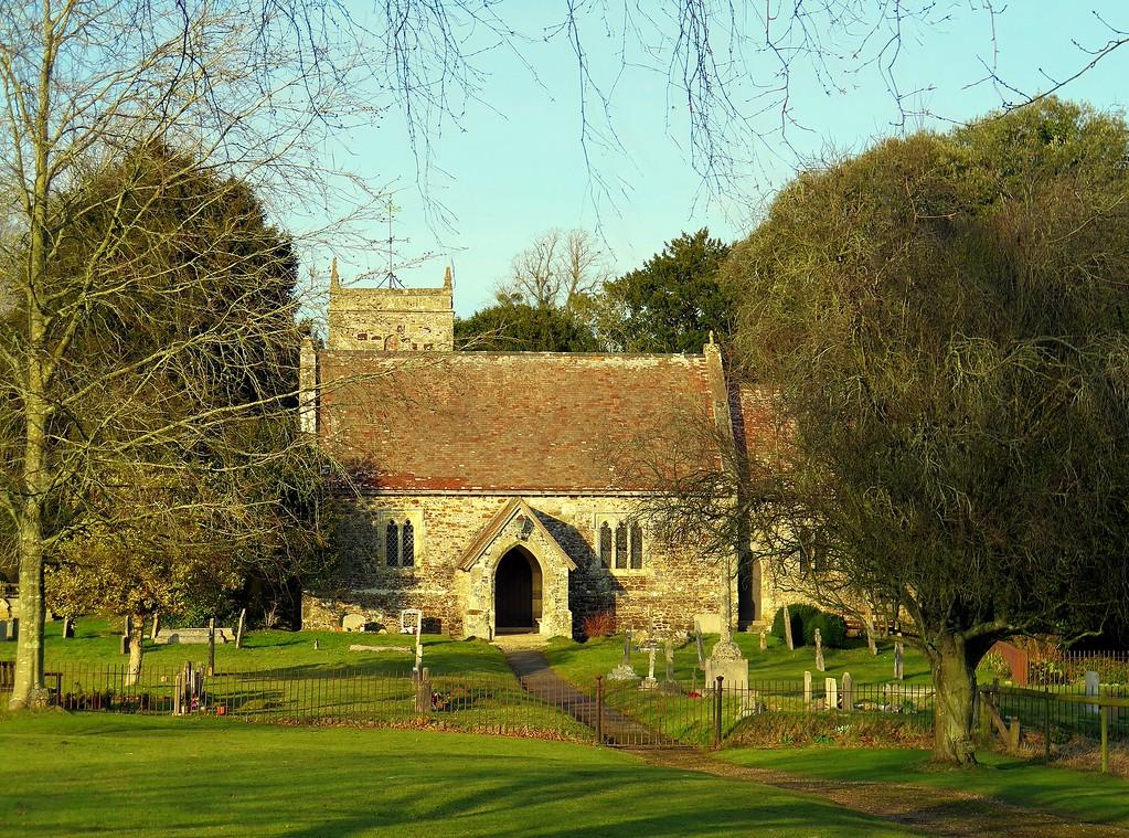 The afternoon sun on Edmonsham Church
