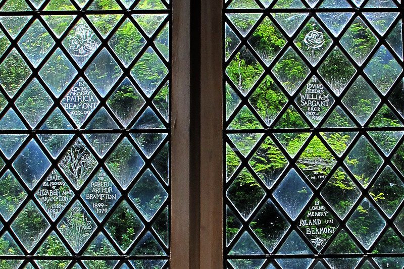 Memorials engraved on the church windows.