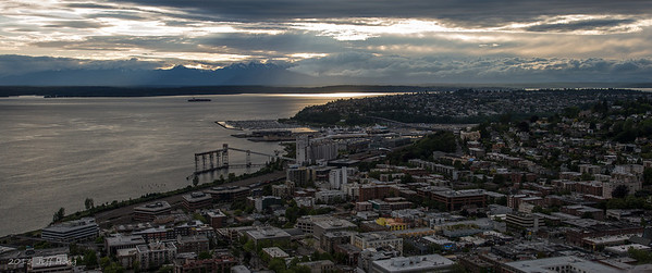 Queen Anne Hill & distant Olympic Mountains from the Space Needle, Seattle, Washington
