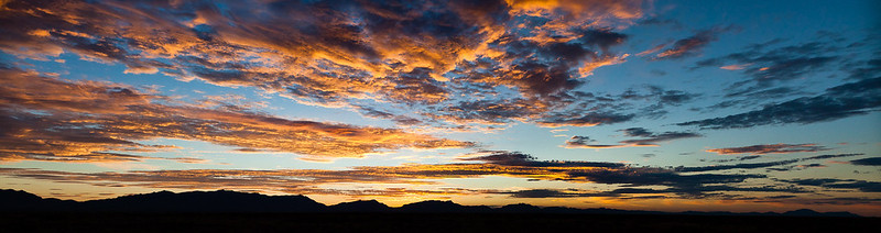 Panorama of sunset over White Sands, New Mexico
