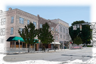 West High Street in Mount Vernon, Ohio off the public square (on the right). Included is the Lewis building in the center. (Drawing Effect)