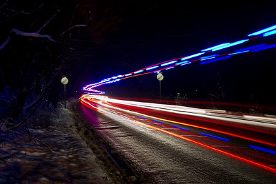 Light trails in the snow - lucky for me that an ambulance went past but unlucky for someone else - as always when one passes I pray that they are OK.