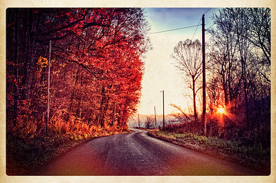 Sunrise on the Lower Gambier Road near Gambier, Ohio.