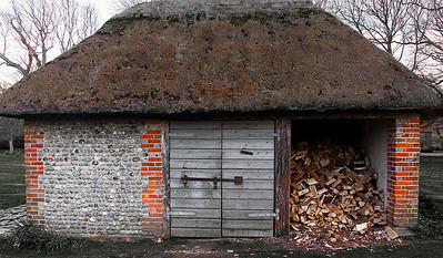 Old logstore at Bailiffscourt in Sussex