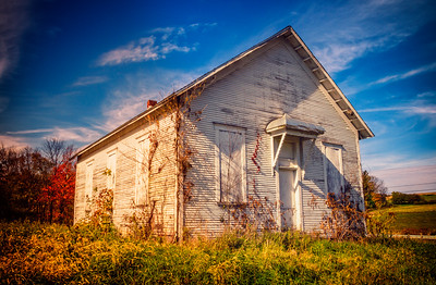 Old abandoned schoolhouse on Hildebrant Road in Richland County, Ohio east of Butler. Photographed on October 28, 2013.