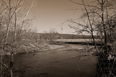 A bend in the Kokosing River along the Kokosing Gap Trail in Howard, Ohio. (Sepia Effect)