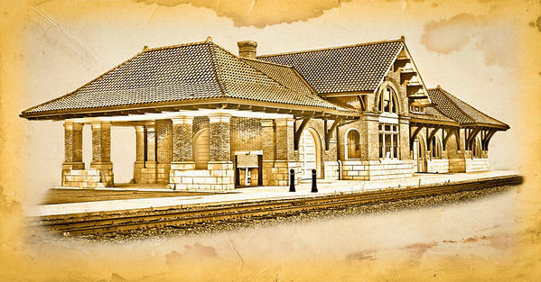 The Baltimore & Ohio Depot on West High Street. (Old Drawing Effect)