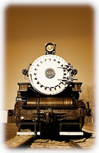 Front view of Locomotive #63 in Gambier, Ohio along the Kokosing Gap Trail. (Photoshop Effect)