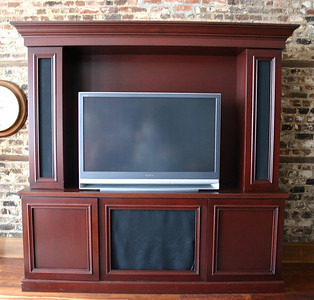 "#8 $$$SOLD$$$ Laminate Media Console: was $195 Light wear from TV on flat surface.  Speaker grill fabric is loose as seen. 89"" W x 2'D x 89"" H"