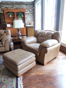 #3 $$$SOLD$$$ Leather Chair and Ottoman: was $395 Reduced $250 Not mint but nice.
