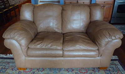 #1  $$$SOLD$$$ Leather loveseat:  was $395 Reduced $250 Not mint but nice.