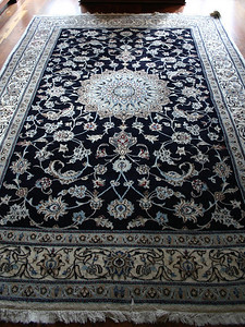 "#12  $$$SOLD$$$ Dining room rug, Iran:  $195 9' 7"" x 6' 4"" (Note one corner that is turned upwards)"