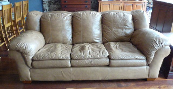 "#2 $$$SOLD$$$ Leather sofa: was $395 Reduced $250 Not mint but nice 88"" L x 39.5"" H"