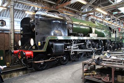 WC 4-6-0 34046 'Braunton' inside Ian Rileys shed at Bury   13/04/13