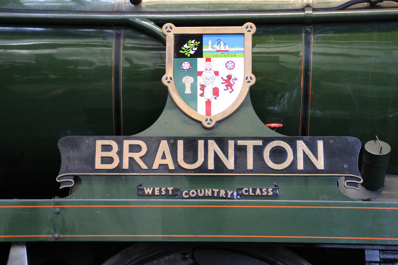 West Country Class 4-6-0 34046 'Braunton' nameplate.