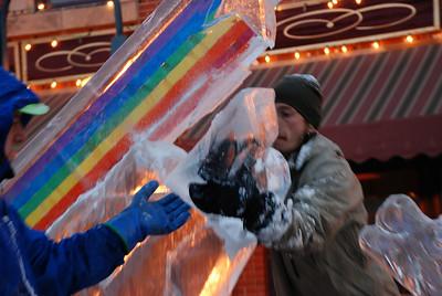 Removing Chunk of Ice - Cripple Creek, CO Ice Festival