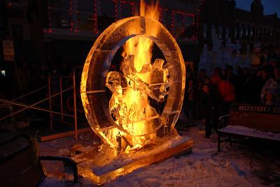 Fire Burning Behind Sculpture - Cripple Creek, CO Ice Festival