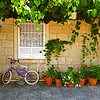 Bike and planters, Dubrovnik, July 2008