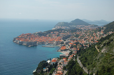 We take the lazy option and bike up to the top of the mountain overlooking Dubrovnik.