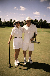 Croquet Hall of Famer Jackie Jones with Canadian champ Brian Cumming.