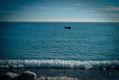 Fishing in Cros de Cagnes from the shore, France
