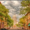 State Street and view of the Wisconsin Capitol, Madison.