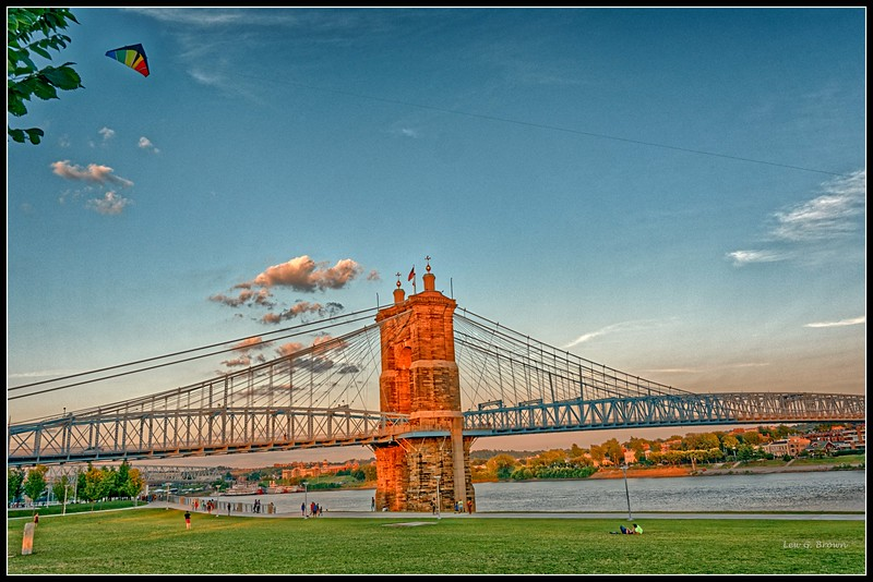 """Let's Go Fly a Kite!""  Beautiful park at the base of Roebling Bridge."